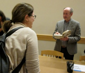 Billy Collins signs my copy of his new poetry collection.