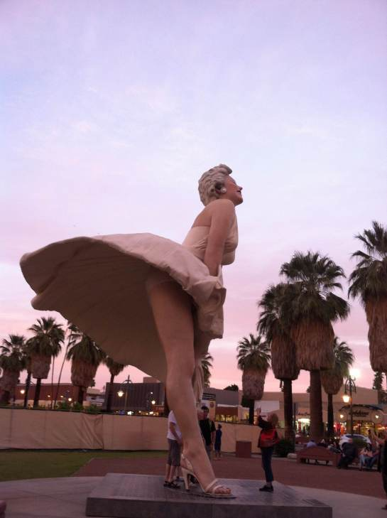 Sideview of the apparently famous Marilyn statue in downtown Palm Springs, where we encountered some colorful characters.