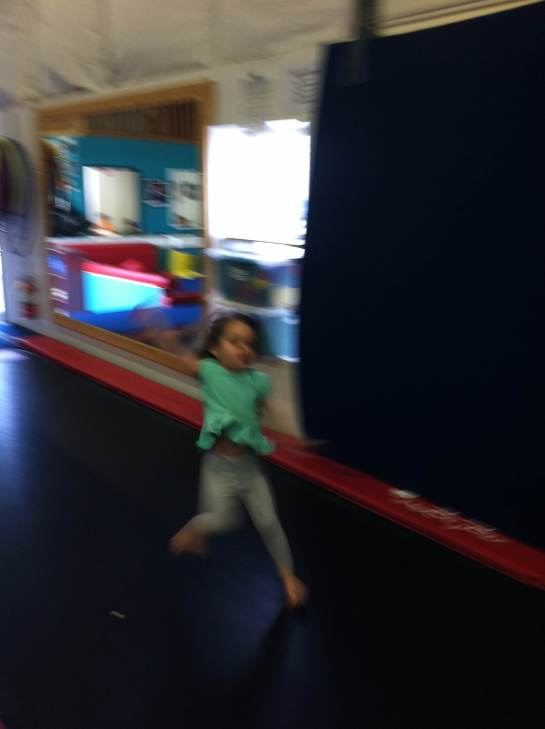 A whirlwind of motion at Bounce Trampoline Gym.