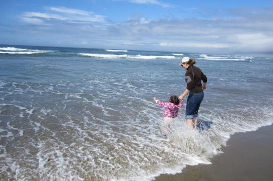 My future marine biologist explores the surf.