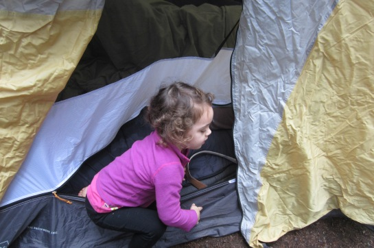 Climbing into our tent.