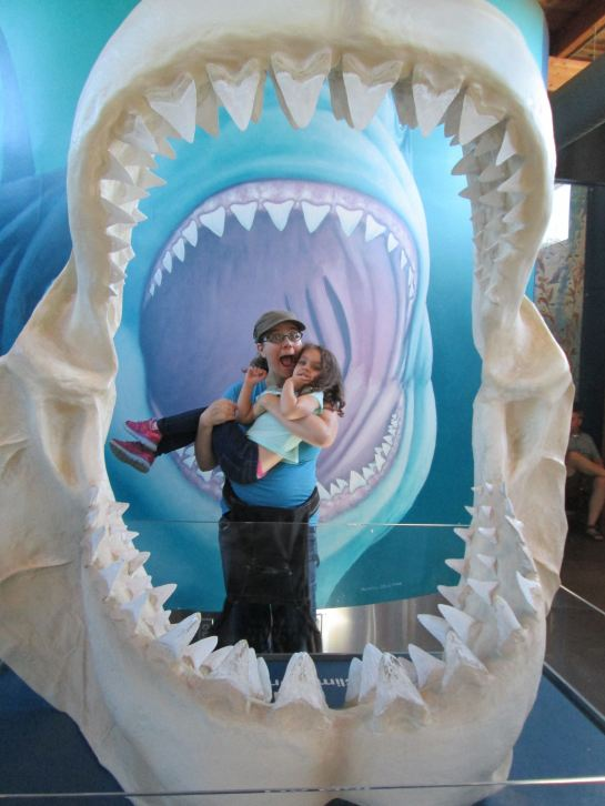 At Oregon Coast Aquarium with MJ, facing one of my big fears. Photo credit: Alice Evans